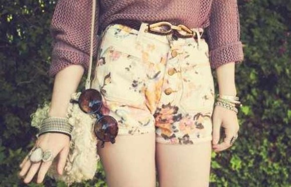 shirt red shirt sunglasses floral fishnet shirt floral shorts jewelry rock soft grunge boho hipster indie vintage highwaisted shorts shorts floral, high waisted