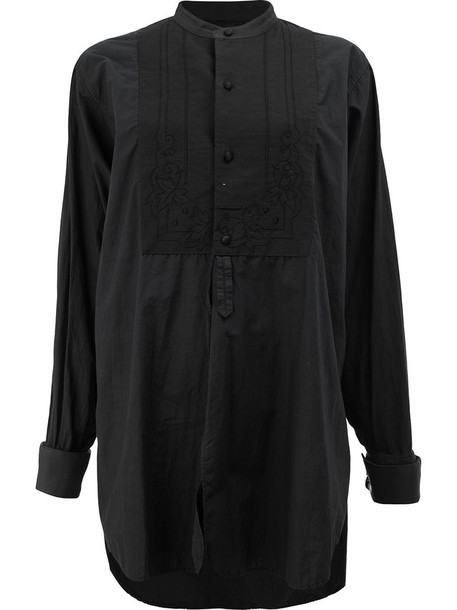 Blackyoto shirt oversized women cotton black top