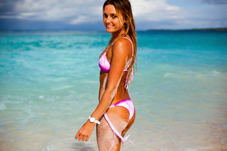 swimwear alana blanchard bikini bikini bottoms bikini top dip dyed pink