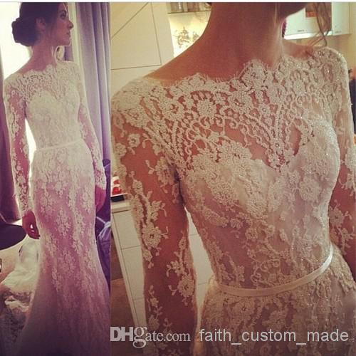 Buy 2014 illusion long sleeve lace wedding dresses winter steven khalil transparent bateau scallop trim beaded court train bridal dresses gowns, $175.0