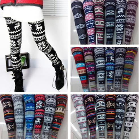 New Hot Women's Nordic Deer Snowflake Knitted Leggings Pants 21 style 03 on Aliexpress.com