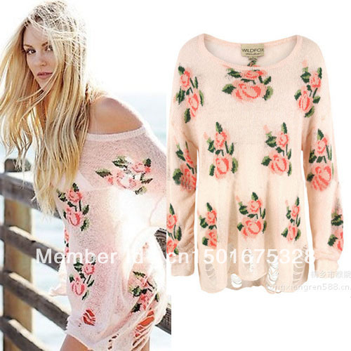 Free Shipping Women's Wildfox Rose Flower Printed Sweaters Hollow Out Holes Pullovers Casual Knitwear 4 Colors-in Pullovers from Apparel & Accessories on Aliexpress.com