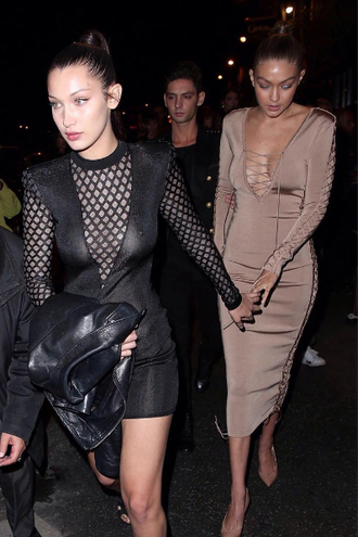 dress celebrity gigi hadid bella hadid fashion dress sexy dress black dress lace up dress nude dress long dress hadid sisters