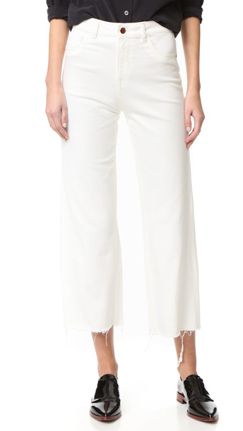Dl1961 Hepburn High Rise Wide Leg Jeans - Eggshell