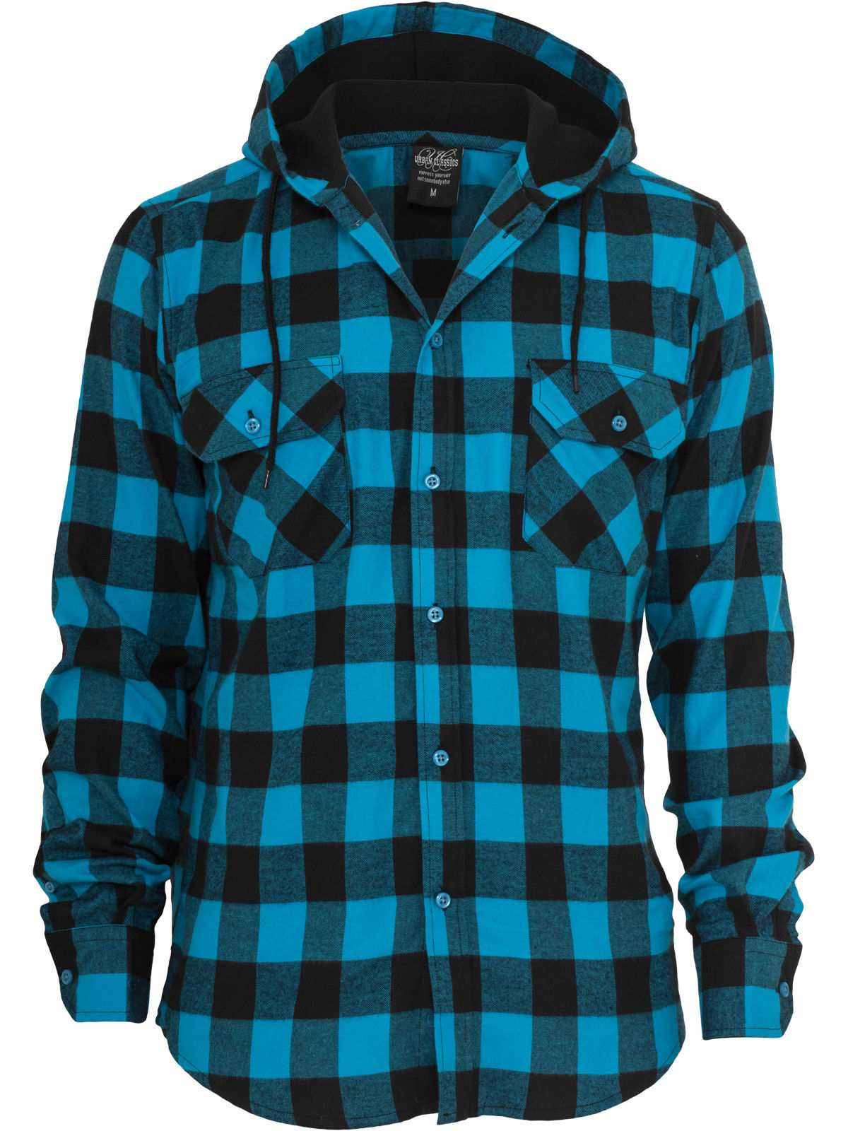 Urban Classics Hooded Checked Flanell Black Turquoise