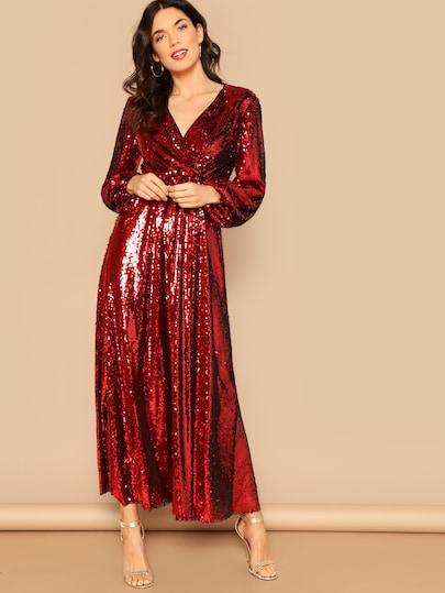 Blouson Sleeve Surplice Sequin Maxi Dress