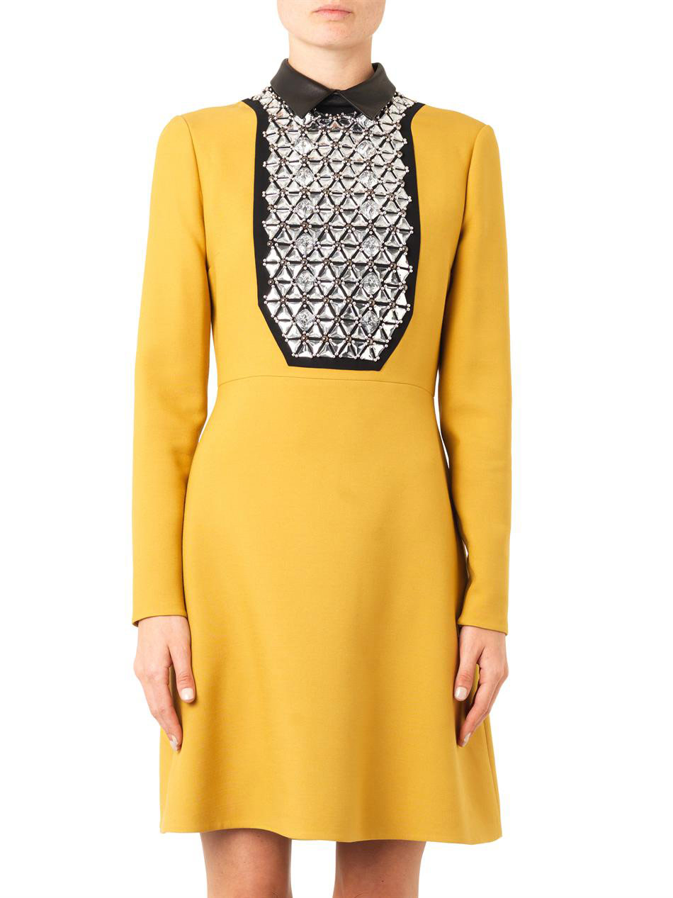 Leather-collar embellished crepe dress | Gucci | MATCHESFASHIO...
