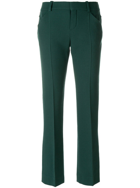 women spandex silk wool green pants