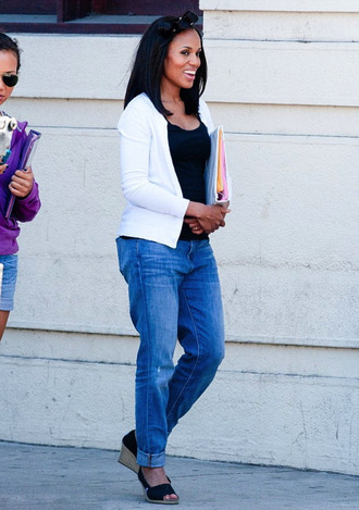 jeans kerry washington celebrity style celebrity blue jeans top black top cardigan white cardigan wedge sandals wedges jacket