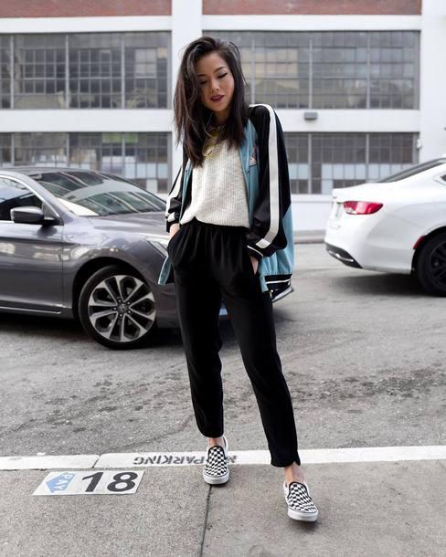 pants joggers sneakers white blouse jacket stripes