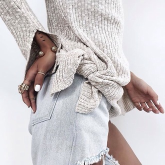 sweater knitted sweater grey all grey everything