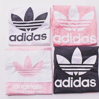 shirt adidas adidas originals pastel pastel pink tumblr aesthetic tumblr aesthetic grunge soft grunge white black black and white pink and white