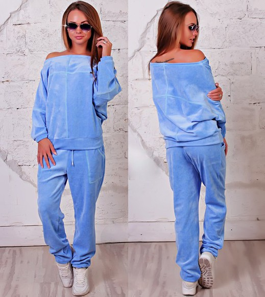 sweater off the shoulder fashion off the shoulder sweater jumpsuit jacket velvet velour sweatsuit indoor beauty fashion shopping style cute pants blue