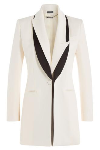 blazer silk wool white jacket