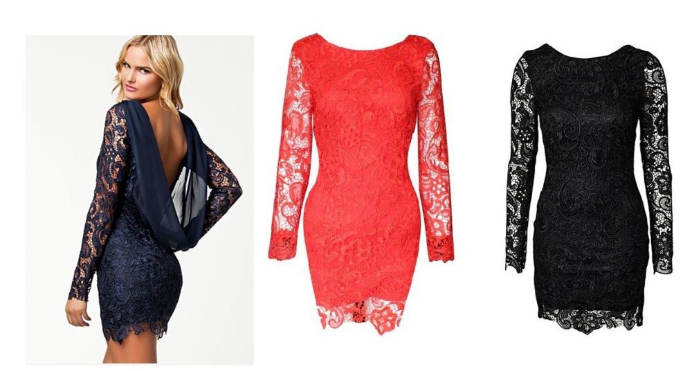 frete grátis 2014 preto azul vermelho primavera estilo low cut drape backless vestido de renda vestido de