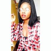 sunglasses,glasses,braid,red,white,plaid,flannel,lips,instagram