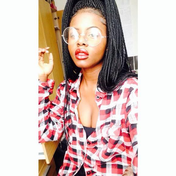 braid sunglasses glasses red white plaid flannel lips instagram