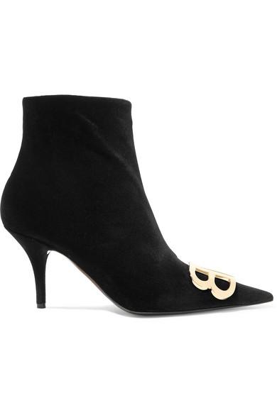 Balenciaga - Knife logo-embellished velvet ankle boots