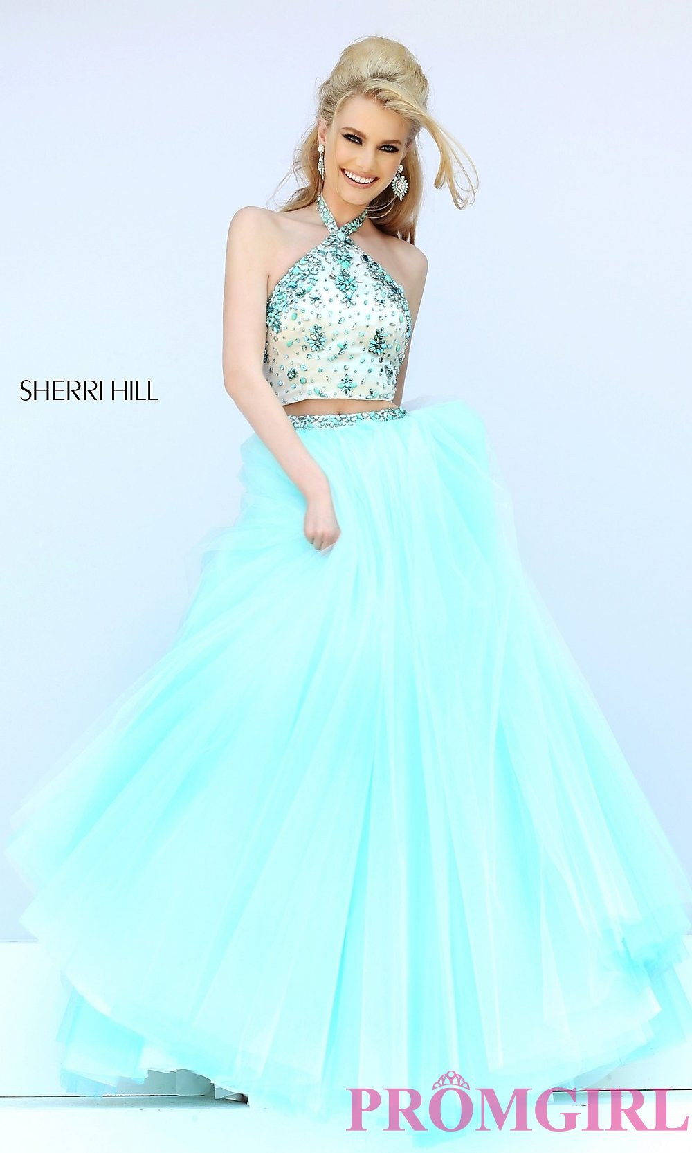 Two Piece Floor Length Halter Dress by Sherri Hill