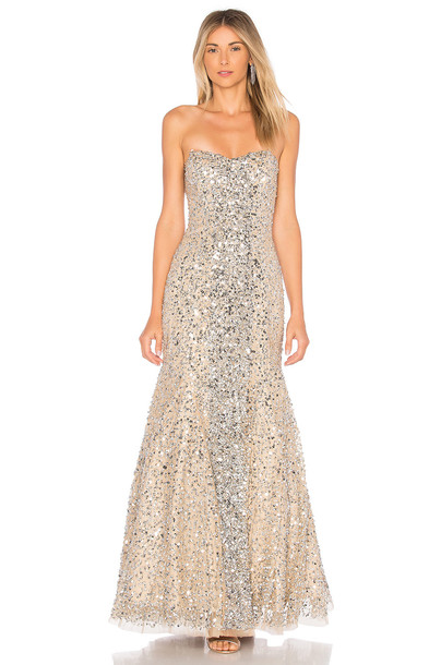 Parker Black gown embellished metallic silver dress