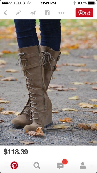 shoes wedge brown lace boots cute love pretty preppy