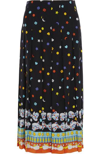 skirt midi skirt pleated midi silk black