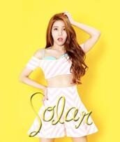 dress,crop tops,fashion show,solar,mamamoo,kpop,blue,bra,turquoise,pink,skirt,mini skirt,korean style,stripes,victoria's secret,korean fashion