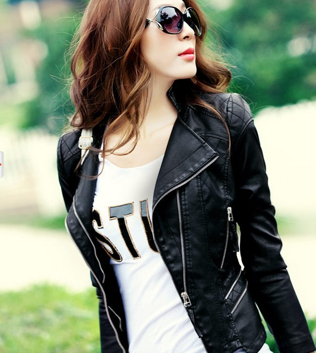 Free shipping women Leather jacket 2013 autumn slim leather coat PU motorcycle jacket ladies army green leather jacket coat-inLeather & Suede from Apparel & Accessories on Aliexpress.com