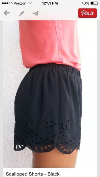 shorts scalloped shorts high waisted black shorts lace shorts blouse pink blouse shirt fashion summer outfits summer outfits scalloped scalloped edges black shorts