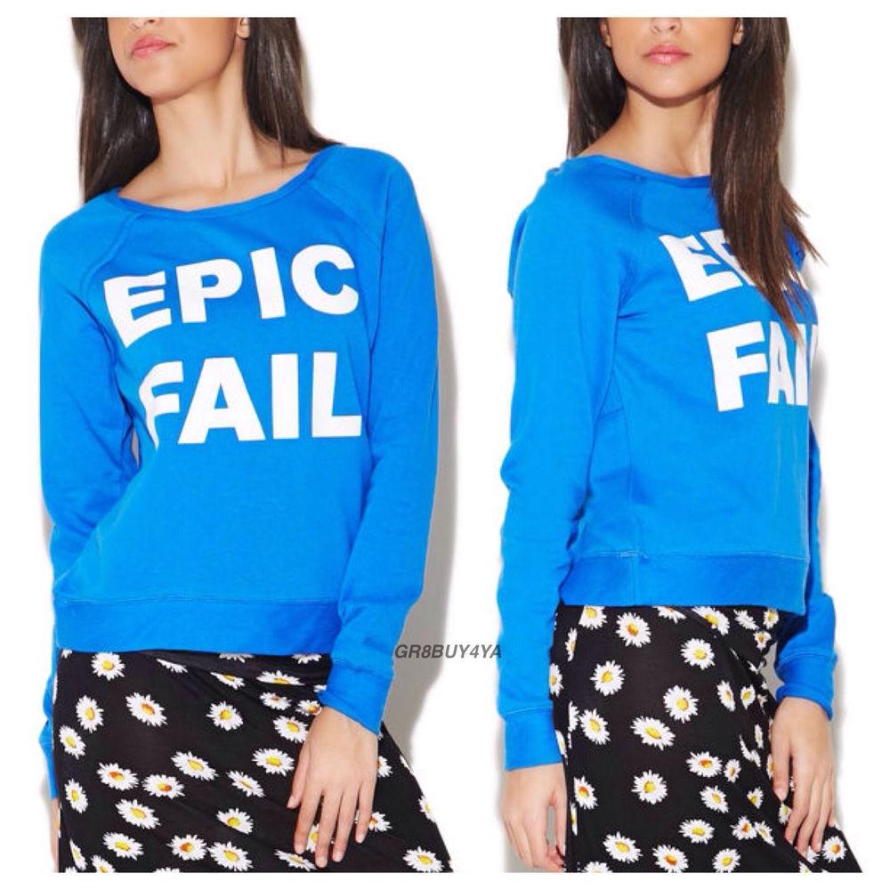 Brand New w Tags Blue Epic Fail Pullover Raglan Crop Sweater Sweatshirt s M L | eBay