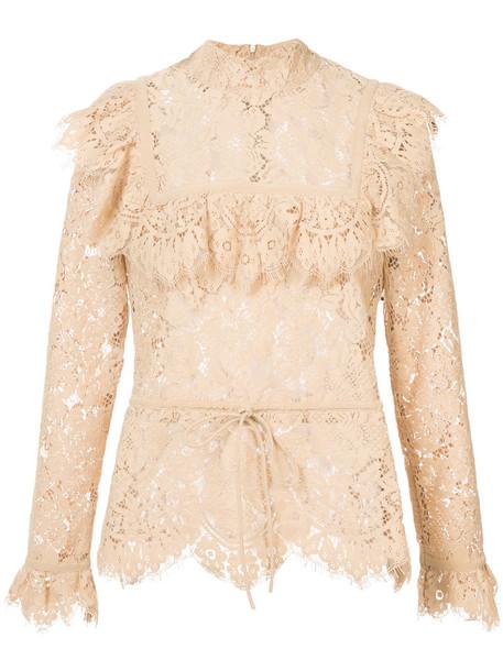 Ganni blouse women nude cotton top