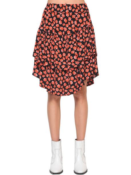 GANNI Lindale Floral Printed Crepe Mini Skirt in red