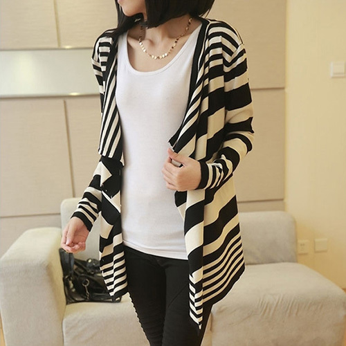 [grxjy562048]fashion contrast color strips loose irregular knitting cardigan