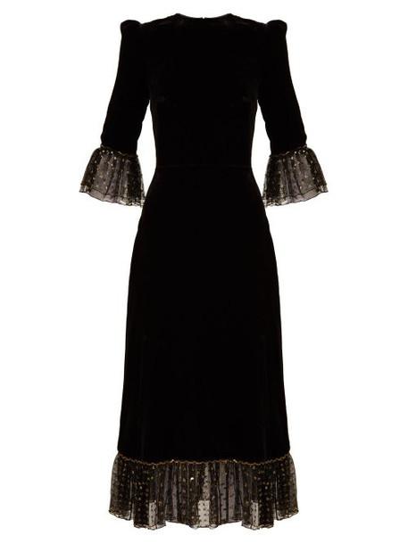 The Vampire's Wife - Falconetti Fil Coupé Tulle Trimmed Velvet Dress - Womens - Black Gold