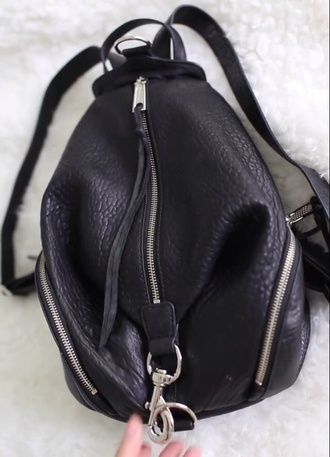 bag backpack black zips handbag school bag