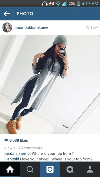 shirt grey longsleeves tshirt dress cut off sides long shirt dress cute cute top style