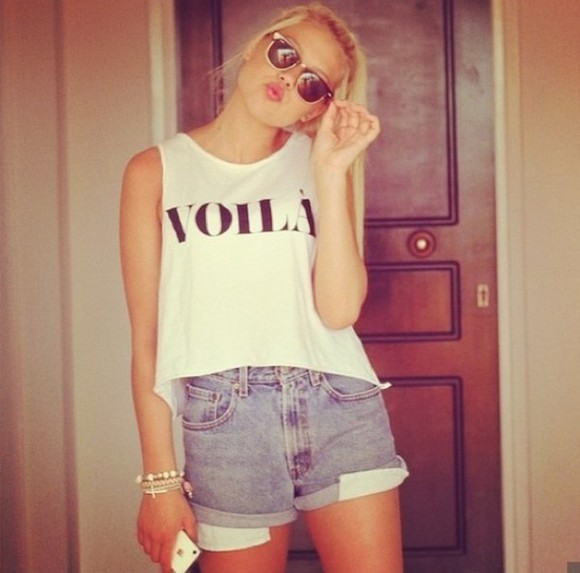 sunglasses rayban shorts t-shirt voila quote on it french hype tshirt