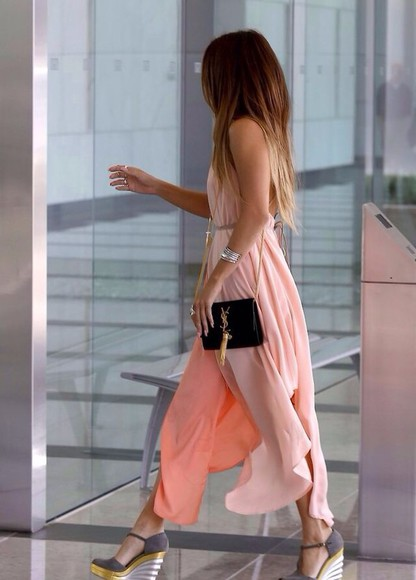 dress coral coral dress maxi dress shoes bag sheer spring jeans