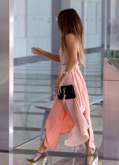 coral dress karrueche dress maxi dress sheer coral bag shoes