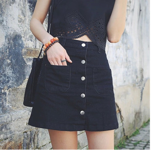 Black Button Front Denim Skirt - Dress Ala