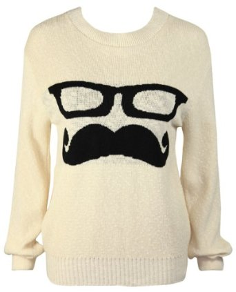 New ladies knitted long sleeve glasses moustache face print jumper womens crew neck top: amazon.co.uk: clothing