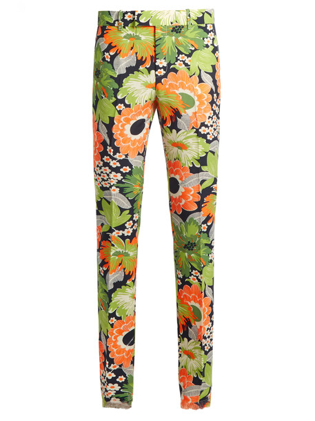 gucci floral print wool green pants