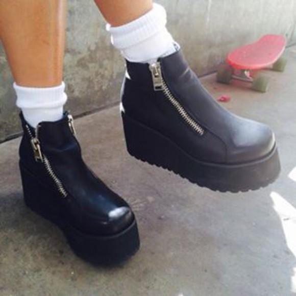 shoes black boots zipper booties