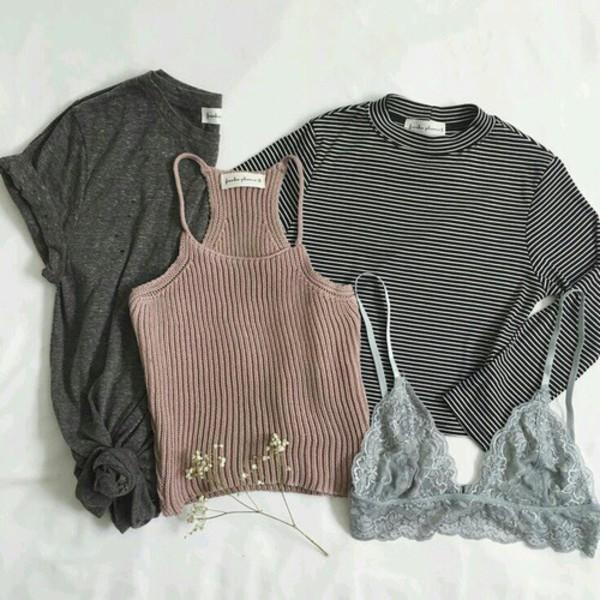 t-shirt crop tops bralette grey t-shirt shirt t shirt print stripes brand bra