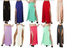 High Split Banded Waist with Double Leg Two Split Full Length Curtain Maxi Skirt | eBay