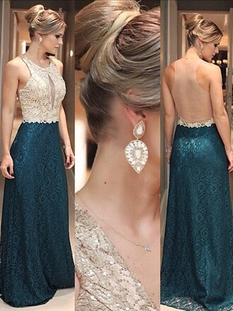 dress formal gown open back sexy lace green dressofgirl prom prom dress backless dream dress blue turquoise fashion fashionista style girly bridesmaid maxi dress long long dress cute amazing gorgeous