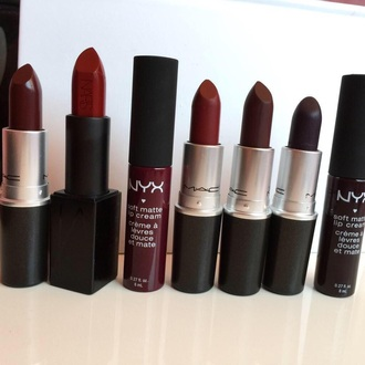 make-up mac cosmetics nyxcosmetics burgundy lipstick