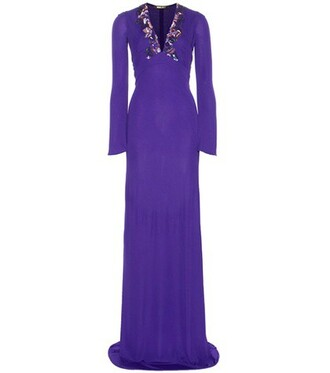 gown embellished purple dress