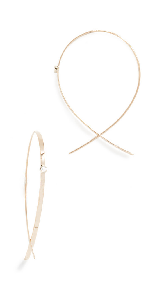Lana Jewelry 14k Small Flat Upside Down Hoops with Diamonds in gold / yellow