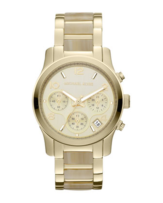 Size horn acetate and golden stainless steel runway chronograph watch